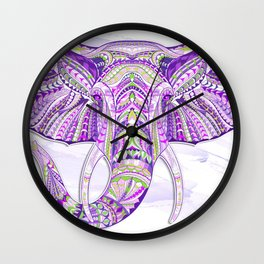 Purple Ethnic Elephant Wall Clock