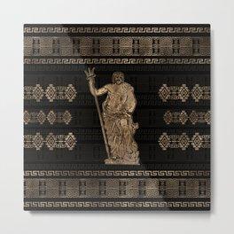 Poseidon and Greek Meander Ornament Metal Print