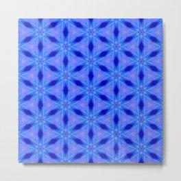 Azure blue flower pattern Metal Print