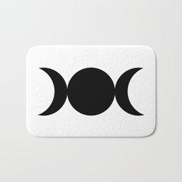 Triple Goddess Symbol - Black on White Bath Mat