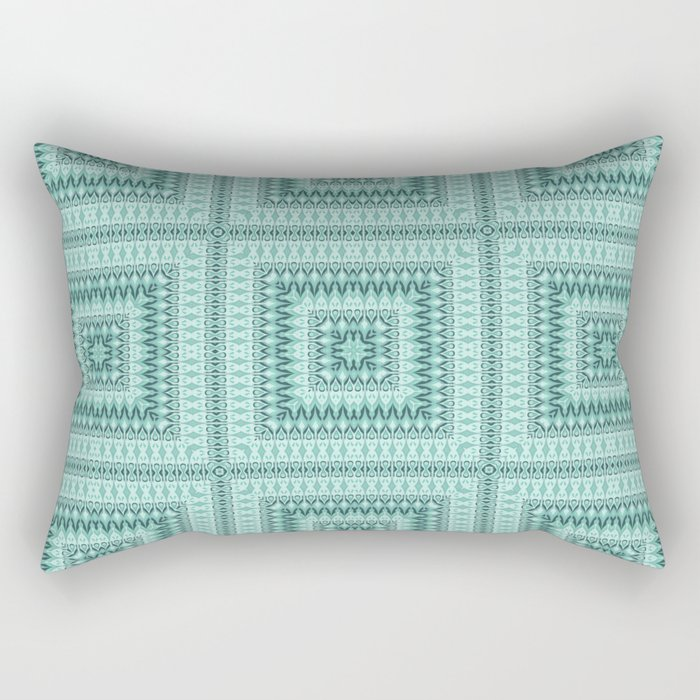 Ornament ethnic square in shades of green . Rectangular Pillow