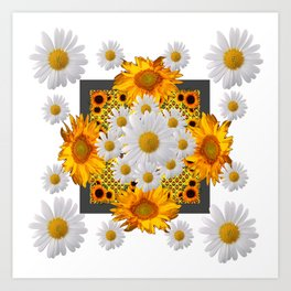 WHITE DAISIES FLORAL & YELLOW SUNFLOWERS FLOWERS Art Print