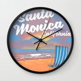 Take a Trip! Santa Monica California vintage print Wall Clock