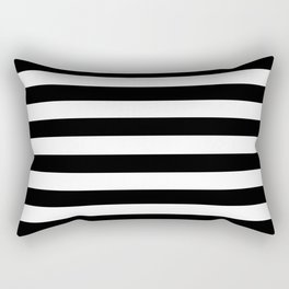 Black White Stripe Minimalist Rectangular Pillow