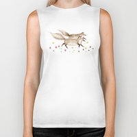 running Biker Tanks featuring Running Foxes by Sophie Corrigan