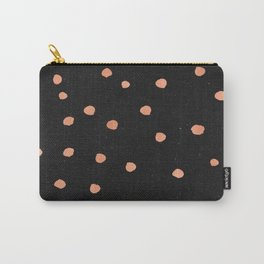 Rose Gold Dots on Black Pattern Carry-All Pouch