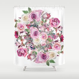 Bouquet of rose - wreath Shower Curtain
