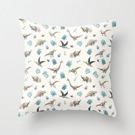 X-Ray Dino Party - blue Throw Pillow