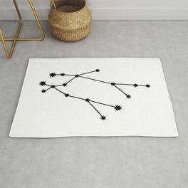 Gemini Star Sign Black & White Rug