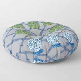 Blue Lattice Ginger Jars Topiary  Floor Pillow