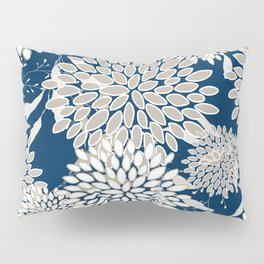 Festive, Floral Leaves and Blooms, Blue and Gray Pillow Sham