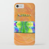 kansas iPhone & iPod Cases featuring Kansas Map by Roger Wedegis