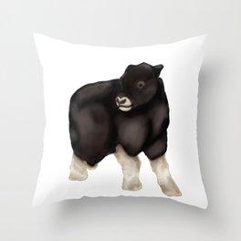 Baby Musk Oxen - Arctic Blue Throw Pillow