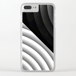 Modern CIRCULAR Black and White Design Clear iPhone Case