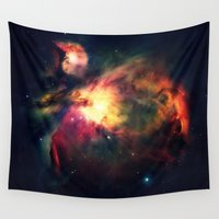 nebula Wall Tapestries featuring Orion NEbula Dark & Colorful by 2sweet4words Designs