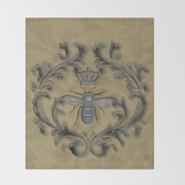 French Bee with Gold Damask Background Throw Blanket