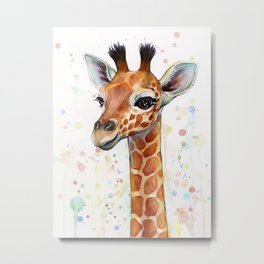 Giraffe Baby Watercolor Metal Print