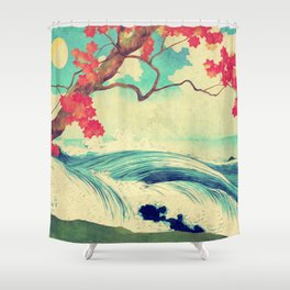 Waking to the Wild and Beautiful Ocean of Dhin Shower Curtain
