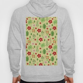 Tropical yellow red green modern floral pattern Hoody
