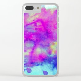 electric blue tie dye Clear iPhone Case
