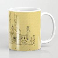 barcelona Mugs featuring Barcelona by Lele Gastini