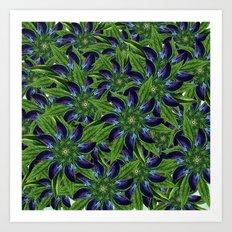 Vintage Blue Floral Pattern Collage Art Print