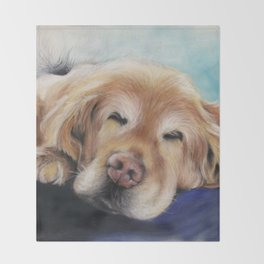 Sweet Sleeping Golden Retriever Puppy by annmariescreations Throw Blanket
