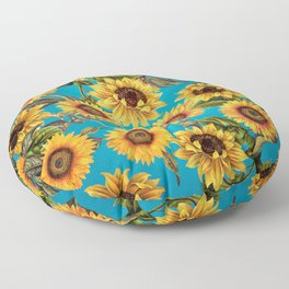 Vintage & Shabby Chic - Sunflowers on Turqoise Floor Pillow