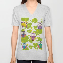 bright colorful owls and green leaves on white background Unisex V-Neck