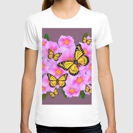 PINK ROSES YELLOW MONARCH PUCE ART T-shirt