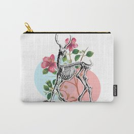 Floral Deer Skeleton Carry-All Pouch