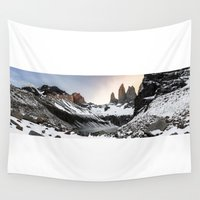 chile Wall Tapestries featuring Torres del Paine, Chile by klausbalzano