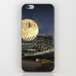 Moon and Wooden Shipwreck with Gulls iPhone Skin
