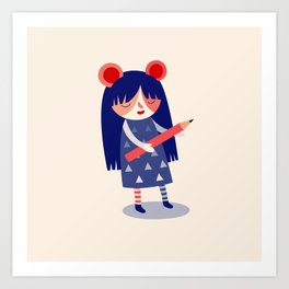 Pencil Girl Art Print