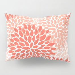 Floral Pattern, Living Coral, Pink Pillow Sham