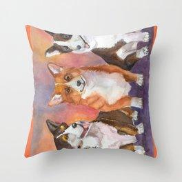 Welsh corgies Throw Pillow