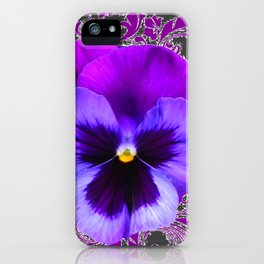 SPRING PURPLE PANSY FLOWER &  DELICATE PATTERN iPhone Case