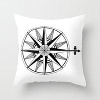 compass Throw Pillows featuring Compass by Addison Karl