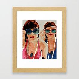 Woman in Vintage Sunglasses Framed Art Print
