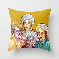 golden girls Throw Pillows featuring Golden Girls by Minerva Torres-Guzman