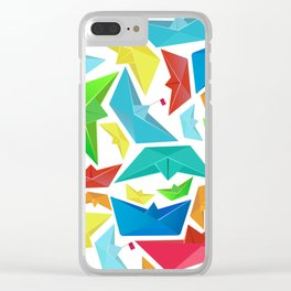 Origami boats multicolour seamless pattern Clear iPhone Case