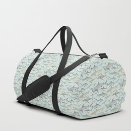 Watercolour shark pattern on pale blue Duffle Bag