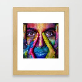 Face in the foreground with many colors Holi Indian festival Framed Art Print