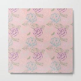 Roses, Embroidery design Metal Print