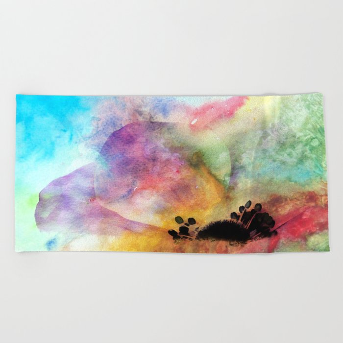Abstract anemone one colorful  watercolor Beach Towel