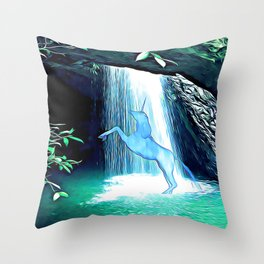 The Secret Under the Waterfall Throw Pillow