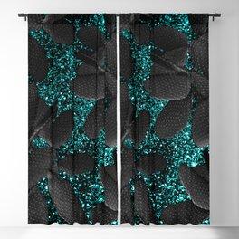 Black Cacti on Aqua Blue Glitter #1 #shiny #decor #art #society6 Blackout Curtain