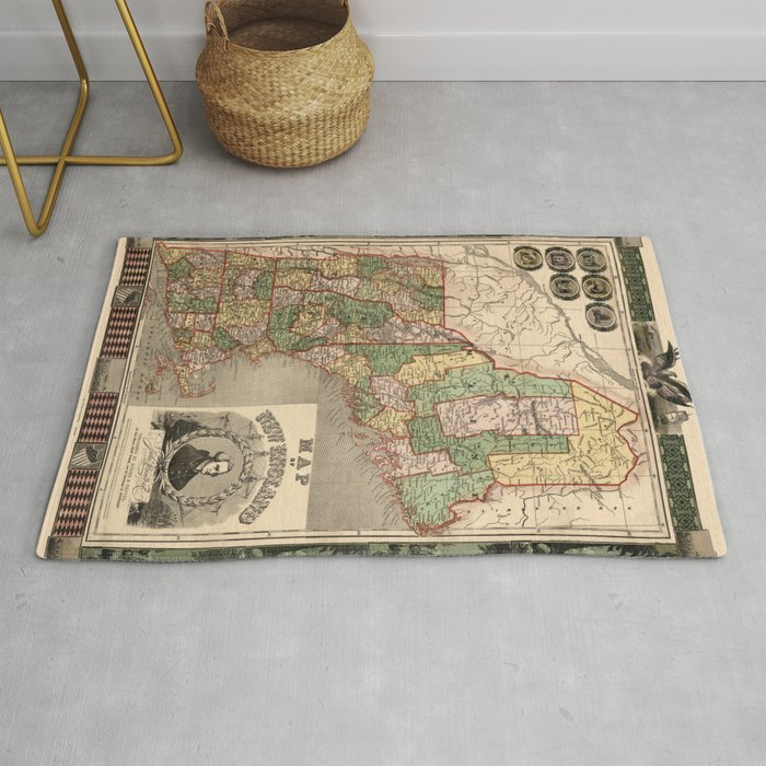 Map Of New England 1847 Rug By Lydiadavid