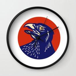 Hawk Head Looking Up Circle Retro Wall Clock