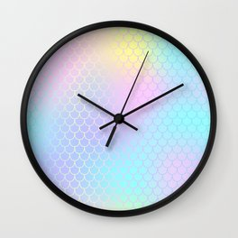 Rainbow Mermaid Abstraction Wall Clock
